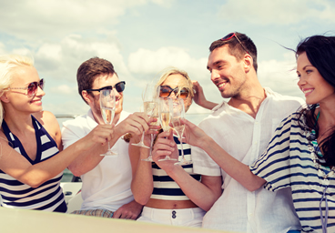 Folks Enjoying Wine on a Yacht